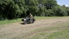 Military Motorbike and sidecar Stock Footage