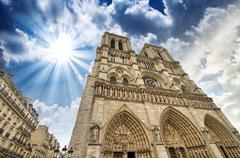 paris. beautiful view of notre dame cathedral - stock photo