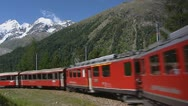 Stock Video Footage of Bernina express in spiral bend climbs up