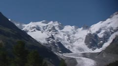 Morteratsch glacier in Swiss Alps. Stock Footage