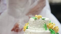 Put a piece of wedding cake Stock Footage