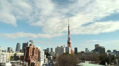 TIMELAPSE - Tokyo Tower Cloud and Construction site - HD Stock Footage
