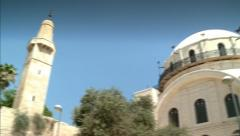 Old synagogue and mosque at the Old City - Jerusalem Stock Footage