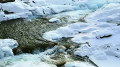 Mountain river an winter - stock footage