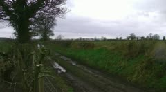 An old farm track on a winters day Stock Footage