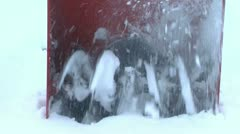 Close-up of snow thrower intake Stock Footage