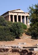ancient temple of hephaestus - stock photo