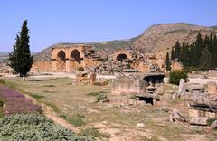 baths bazilica in ancient hierapolis - stock photo