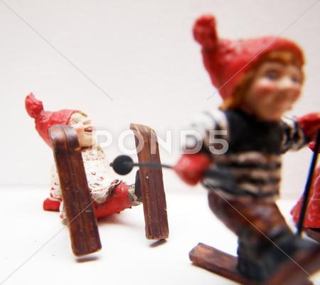 Stock photo of funny looking christmas decoration dolls