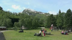 Norway people at a picnic ground above Flam Stock Footage