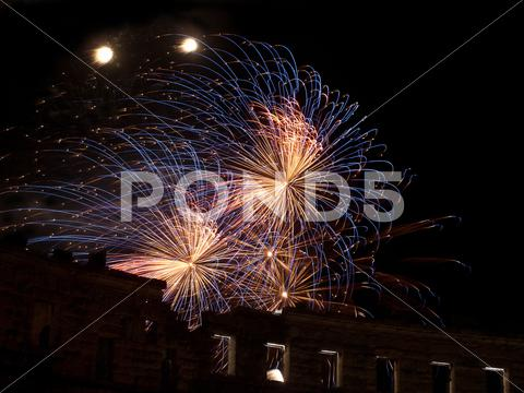 Stock photo of fireworks in summer night
