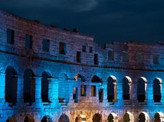 amphitheater under lights - stock photo