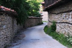 Narrow street of arbanasi village Stock Photos
