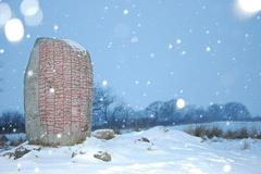 Runestone in snowfall Stock Photos