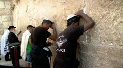 Afroamerican Jews Pray at the Western Wall - Jerusalem - stock footage