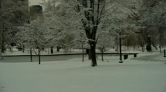 City Park in Snow Boston Stock Footage