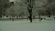 Stock Video Footage of City Park in Snow Boston