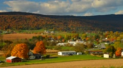 Timelapse of Panoramic view of Amish countryside in fall Stock Footage