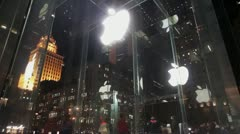Apple store NYC entrance wide angle Stock Footage