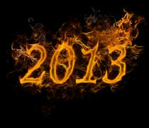 New year 2013 text  made of fire Stock Illustration