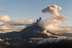 Tungurahua Volcano Explosion At Sunset Ecuador South America Stock Photos