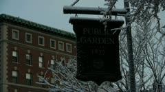 Boston Public Garden Sign Street Background Stock Footage