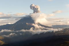 Tungurahua Volcano Explosion At Sunset Ecuador South America - stock photo
