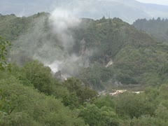 Damp rising from volcanic crater, rotorua, new zealand. Stock Footage