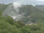 Stock Video Footage of damp rising from volcanic crater, rotorua, new zealand.