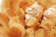bread and pastry assortment macro useful for background - stock photo