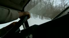 Driving a Suv jeep on the snow Stock Footage