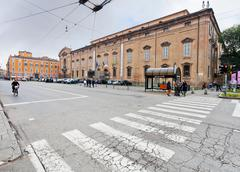 view of museum palace from square largo porta sant'agostino - stock photo