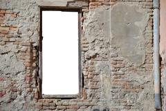 urban decay white isolated window frame template - ideal to insert your picture - stock photo