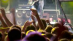 Crowd of people dancing at the rock 'n roll concert Stock Footage