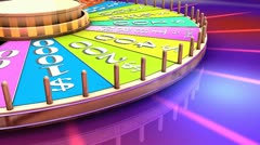 Show game wheel, gameshow, luck, prize, fun. - stock footage