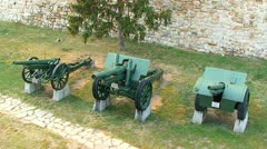 Exhibits of old military artillery in the museum Stock Footage