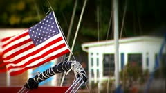 American flag is waving the on the sailboat - stock footage