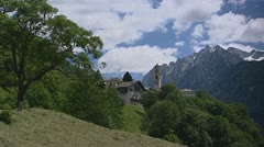 Illage of Soglio in valley, bell tower Church of St. Lorenzo. Stock Footage