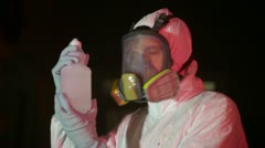 Chemical solution cleanup crew Stock Footage