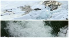 Mountain river with waterfall  in winter Stock Footage