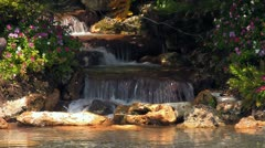 Man-made Garden Waterfall Flowing Stock Footage