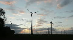 Windmills at sunset, Germany Stock Footage