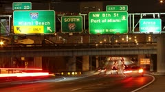 Miami Beach Exit on Interstate 95 Southbound - stock footage
