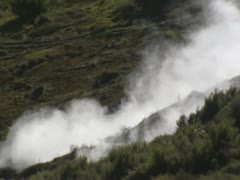 Geothermal activity, damp from earth surface on mountain Stock Footage