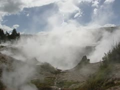 Volcanic activity: damp from earth surface and fumaroles Stock Footage