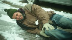 injury on snow - stock footage