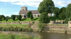Small Church and Riverside Stock Footage