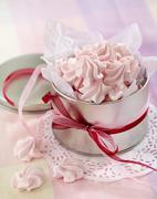pink meringue cookies - stock photo