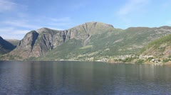 Norway a small city on Aurlandsfjord c Stock Footage