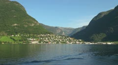 Norway Aurlandsfjord village from fjord s Stock Footage